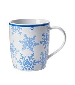 LivingQuarters Blue Snow Flakes Mug