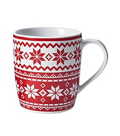 LivingQuarters Red Fair Isle Design Mug