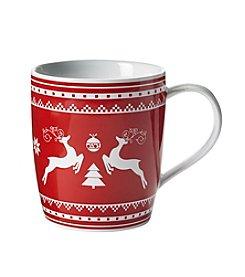 LivingQuarters Red Reindeer Fair isle Mug