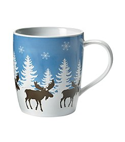 LivingQuarters Brown Moose With White Trees Mug