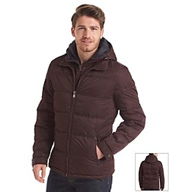 Perry Ellis® Men's Hooded Puffer Jacket With Bib
