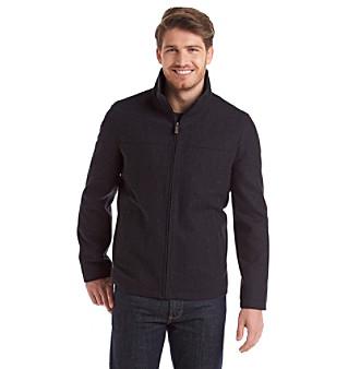 Perry Ellis Mens 28-Inch Wool-Blend Zip-Front Open-Bottom Jacket