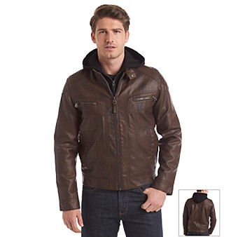 76f078f1f UPC 888738031752 - Calvin Klein Men's Faux Leather Hooded Jacket ...