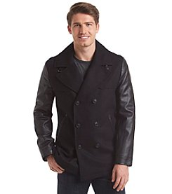 Sean John® Men's Wool Peacoat With Faux Leather Sleeves
