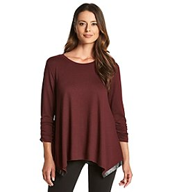 Chelsea & Theodore® Faux Leather Trim Pullover