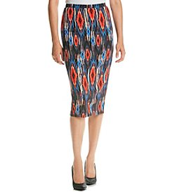 Bobeau Printed Pencil Skirt