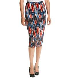Bobeau Printed Pencil Skirt