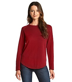 Jeanne Pierre® Round Hem Cotton Sweater