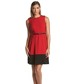 Calvin Klein Pleated Belted Dress