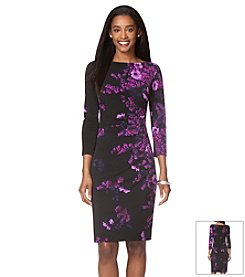 Chaps® Long Sleeved Floral Dress