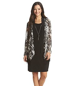 R&M Richards® Petites' Day Dress With Sheer Patterned Cardigan