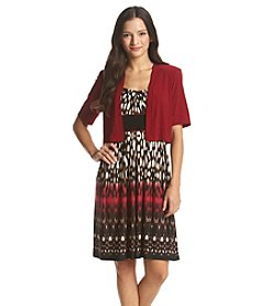 R&M Richards® Petites' Printed Day Dress With Solid Cardigan