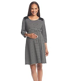 Three Seasons Maternity™ Qulted Shoulder Stripe Ponte Knit Dress