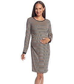 Three Seasons Maternity™ Long Sleeve Stripe Knit Dress