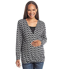 Three Seasons Maternity™ Long Sleeve Chevron Print Layered Top