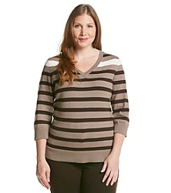 Studio Works® Plus Size Striped Pullover Sweater