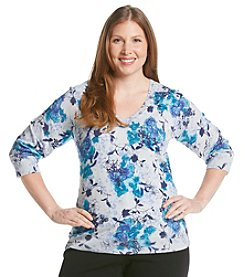 Studio Works® Plus Size Printed Pullover Sweater