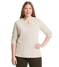 Studio Works® Plus Size Lace Detail Henley Top