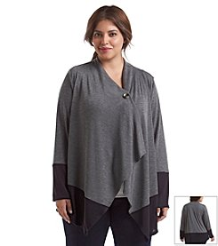 AGB® Plus Size Button Front Colorblocked Cozy