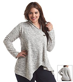 AGB® Plus Size Single Button Spacedye Cozy