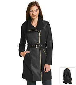 GUESS Asymmetric Zip Belted Walker Coat