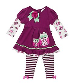 Rare Editions® Baby Girls' 12-24M Mother Owl Leggings Set