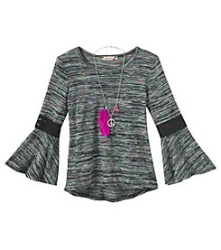 Speechless® Girls' 7-16 Long Sleeve Spacedye Lace Top