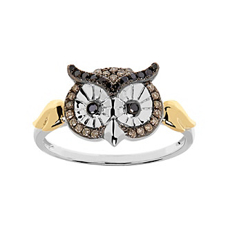 .16 Ct. T.W. Diamond Owl Ring In Sterling Silver