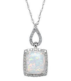 .23 Ct. T.W. Diamond And Lab Created Opal Pendant In Sterling Silver