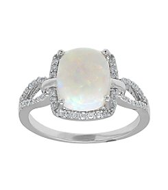 .23 Ct. T.W. Diamond And Lab Created Opal Ring In Sterling Silver