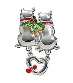 Studio Works® Sivertone Duo Cat Pin With Simualted Crystal Stones