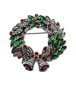 Studio Works® Silvertone Simulated Crystal Wreath Pin