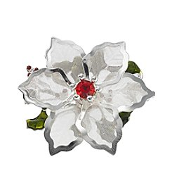 Studio Works® Silvertone Mesh Poinsettia Pin With Simulated Crystal Stones