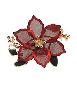 Studio Works® Goldtone Pointsettia Pin With  Goldtone Center