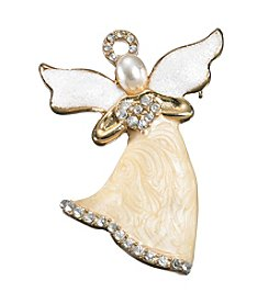Studio Works® Goldtone White Glitter And Cream Angel Pin