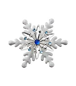 Studio Works® Silvertone White Glitter Snowflake Pin