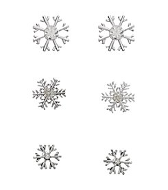 Studio Works® Silvertone Trio Snowflake Earrings With Simulated Crystal Stones