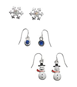 Studio Works® Multicolor Silvertone Trio Earrings