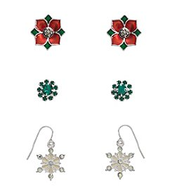 Studio Works® Multicolor Silvertone Trio Earrings