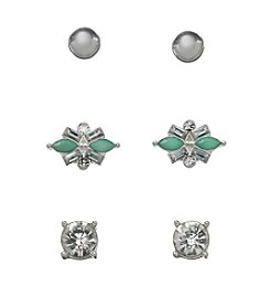 Holiday Mint And Silvertone Trio Earrings Set