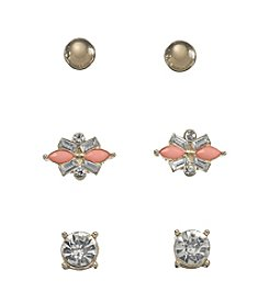 Holiday Pink And Goldtone Trio Earrings Set