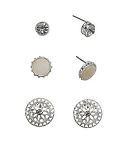 Holiday Silvertone Button Trio Earrings Set