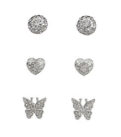 Holiday Silvertone Heart & Butterfly Trio Earrings Set