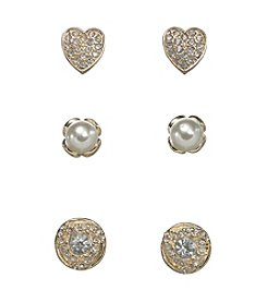 Holiday Goldtone And Pearl Love Knot Trio Earrings Set