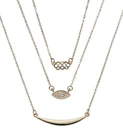 Holiday Goldtone Scroll Trio Necklace Set