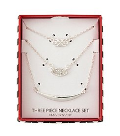 Holiday Silvertone Scroll Trio Necklace Set