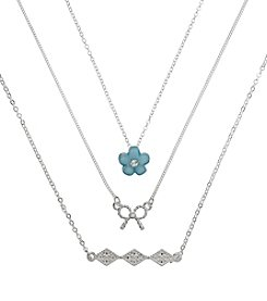 Holiday Blue And Silvertone Bow, Flower & Pave Trio Necklace Set