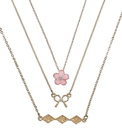 Holiday Pink And Goldtone Bow, Flower & Pave Trio Necklace Set