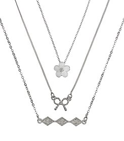 Holiday White And Silvertone Flower, Bow  & Pave Trio Necklace Set