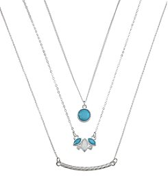 Holiday Blue And Silvertone Multistone Trio Necklace Set